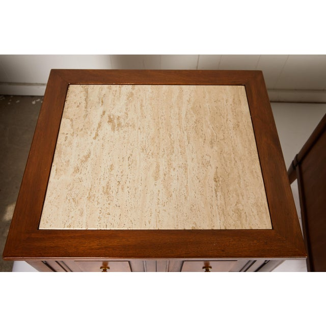 Metal Midcentury Italian Walnut End Tables Inset With Travertine Tops For Sale - Image 7 of 12