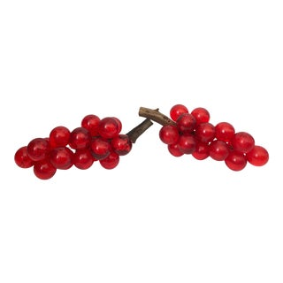 Vintage Lucite Acrylic Red Grape Cluster - a Pair For Sale