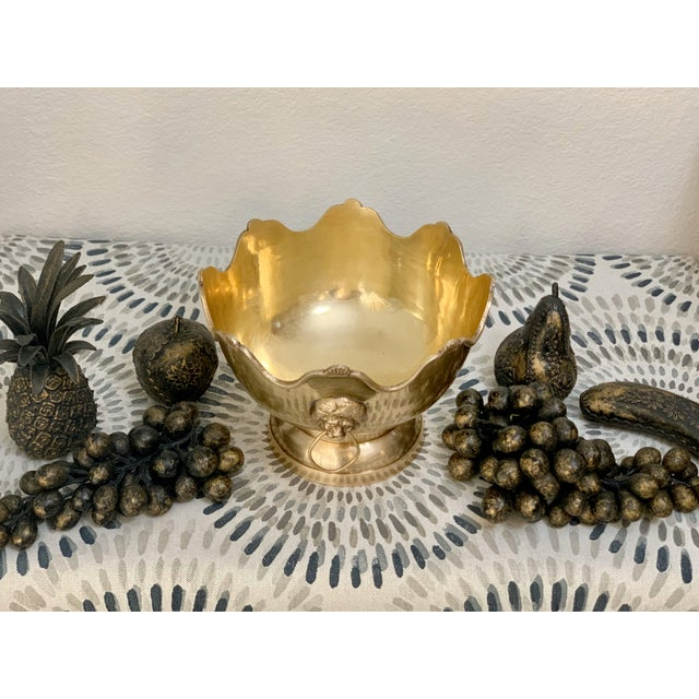 Metal Vintage Brass Fruit Bowl With Decorative Fruits For Sale - Image 7 of 8