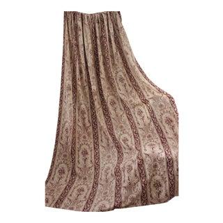 Antique 1860s French Curtain Toile De Jouy Sienna Brown Textile Drape For Sale