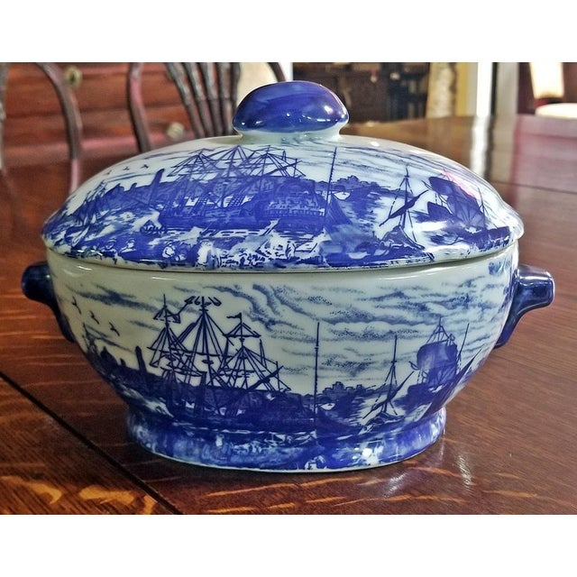 Blue Pair of 19c Staffordshire Ironstone Lidded Tureens of Shipping Scenes For Sale - Image 8 of 13