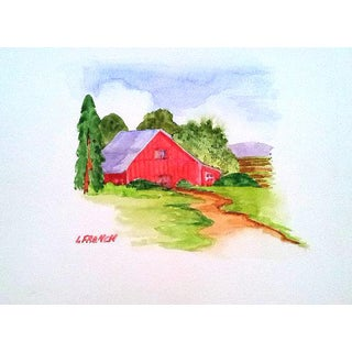 Lynne French Red Farm Barn Original Watercolor Painting For Sale