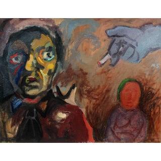 Martin Snipper Expressionist Figures in Oil, Circa 1940s Circa 1940s For Sale