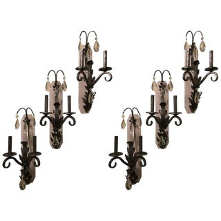 Set of Six Silver Rustic Two-Light Wall Sconce by Schonbek For Sale