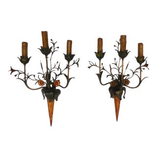 Daintly, Floral Painted Mid-20th Century Sconces For Sale