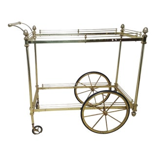Hollywood Regency Maison Jansen Style Brass and Metal Tea/ Bar Cart For Sale