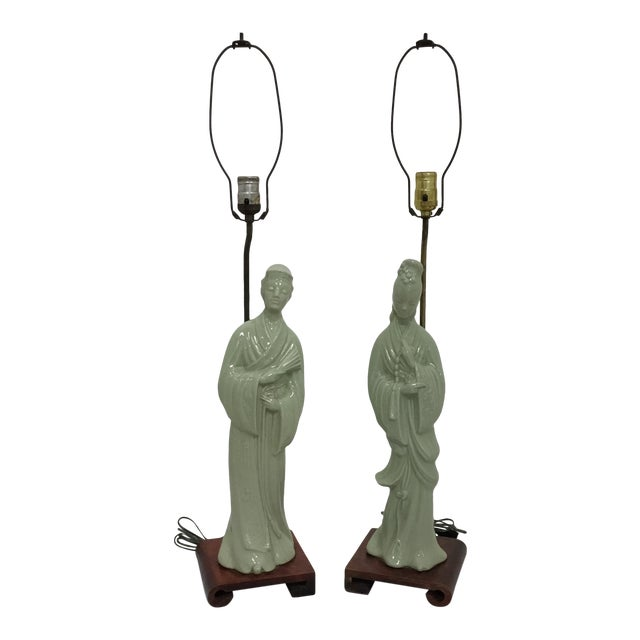 Tall Asian Man and Women Lamps- a Pair For Sale