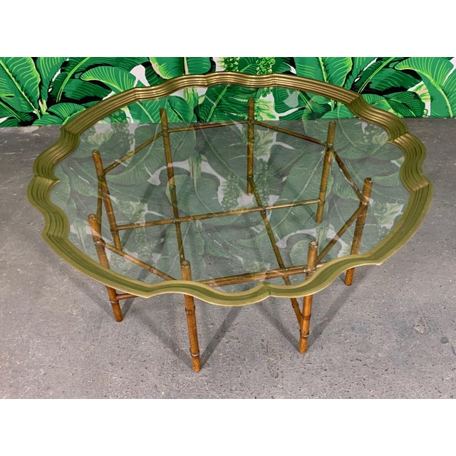 Faux Bamboo Coffee Table With Brass and Glass Top For Sale - Image 4 of 8