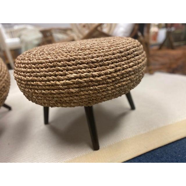 Palecek Paxton chair and ottoman. Chair retail $2909 + ottoman retail $1178. Handwoven natural sea grass and lampakanai...
