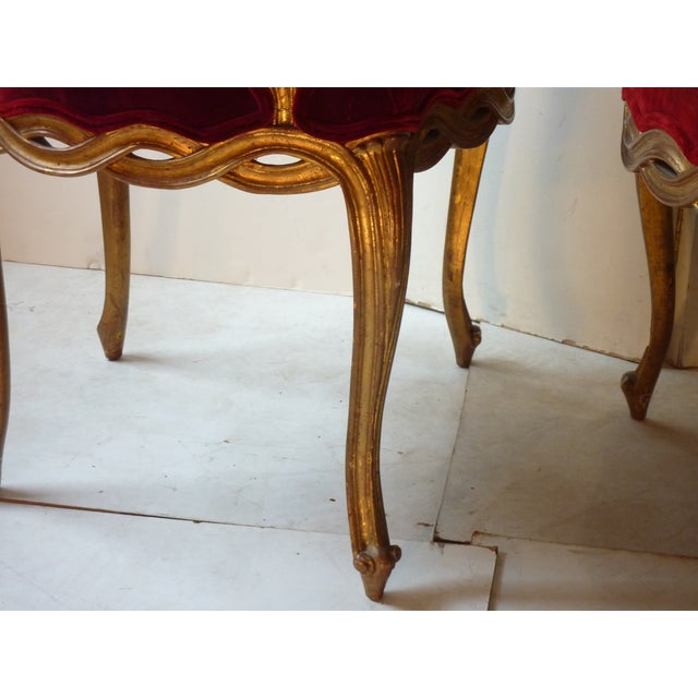 Early 20th Century Early 20th Century Vintage French Ribbon Back Giltwood Armchairs- A Pair For Sale - Image 5 of 11