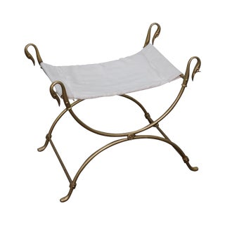 Vintage Italian Neoclassical Brass Swan Cerule Bench For Sale