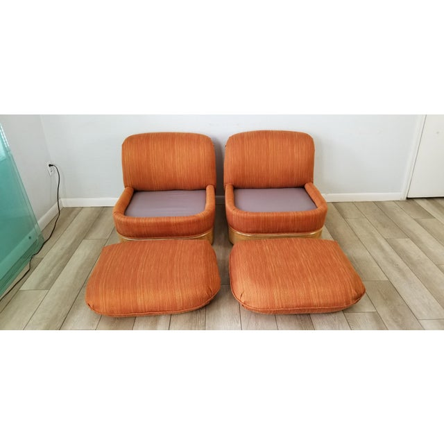 1970s Milo Baughman for Lane Burl Wood Base Slipper Lounge Chairs - a Pair For Sale - Image 5 of 12