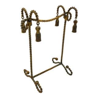 Vintage Hollywood Regency Style Gold Tole Linen Holder For Sale