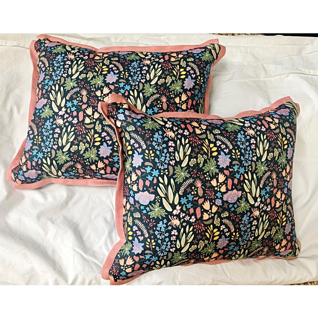 Fun and fabulous pair of custom throw pillows in designer fabrics, House of Harris and Dogwood, to the trade. Fabric is in...