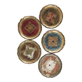 1960s Vintage Florentine Coasters - Set of 5 For Sale
