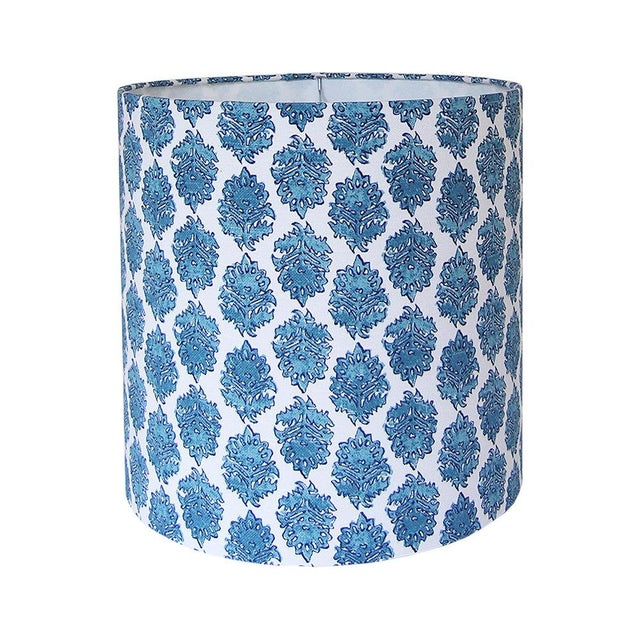 Boho Chic Block Print Drum Lamp Shade For Sale - Image 3 of 3