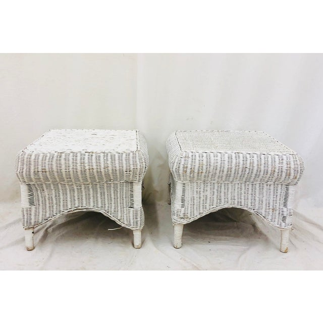 White Pair Vintage Woven Wicker Ottomans For Sale - Image 8 of 10