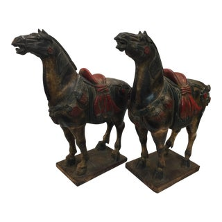 Carved Tang Style Horse a Pair For Sale