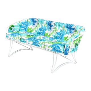 Homecrest Blue, White, and Green Outdoor Patio Sofa Settee With Cushions For Sale