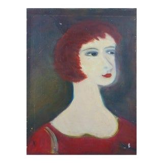 1950's Stylized Portrait Painting, Oil on Linen