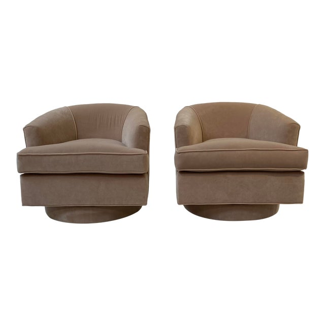 Vintage Swivel Chairs in Camel Velvet - a Pair For Sale
