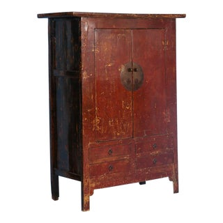 19th Century Antique Red Lacquered Cabinet Armoire From Shanxi, China For Sale