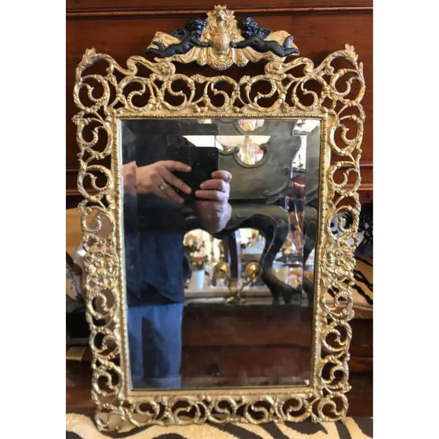 Antique French Dore Bronze Reticulated Mirror W Ebonized Angels For Sale - Image 4 of 5