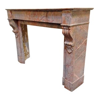 Multicolored Marble Mantel For Sale