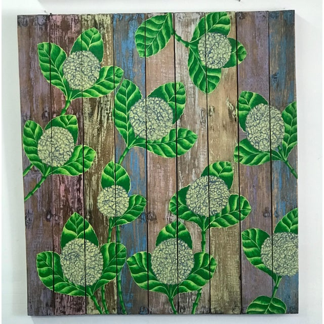 Hand Painted Balinese Rustic Wood Wall Panel Decor For Sale - Image 4 of 4