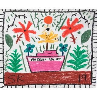 'Garden Boat' Oil Pastel Drawing by Sean Kratzert For Sale
