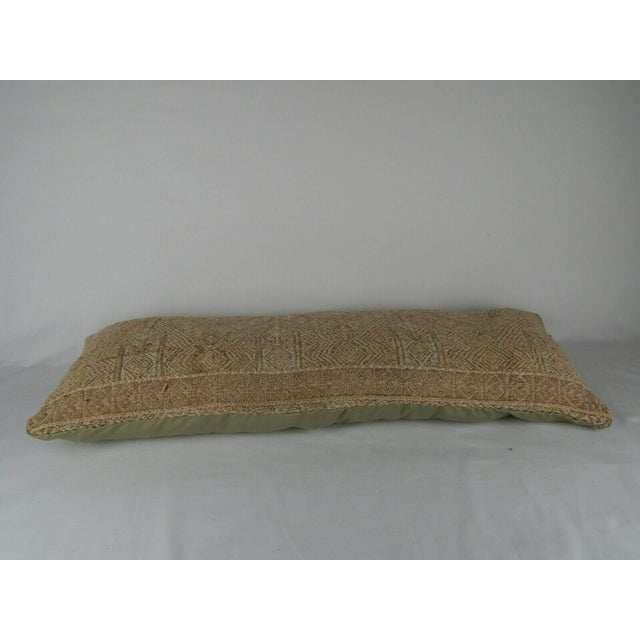 Islamic 16 X 40 Inch Hippie Bedding Kilim Pillow Cover, Handwoven Wool Long Bed Cushion For Sale - Image 3 of 5