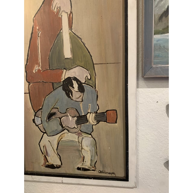 Guitar and cello by Ostermeyer on board, Midcentury in good condition. There is another painting by this artist listed on...