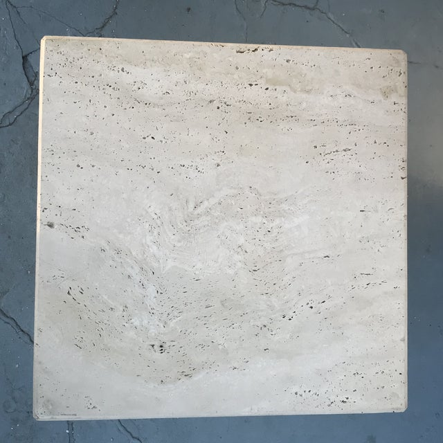 1970s 1970s Mid-Century Modern Stacked Travertine Occasional Table For Sale - Image 5 of 8