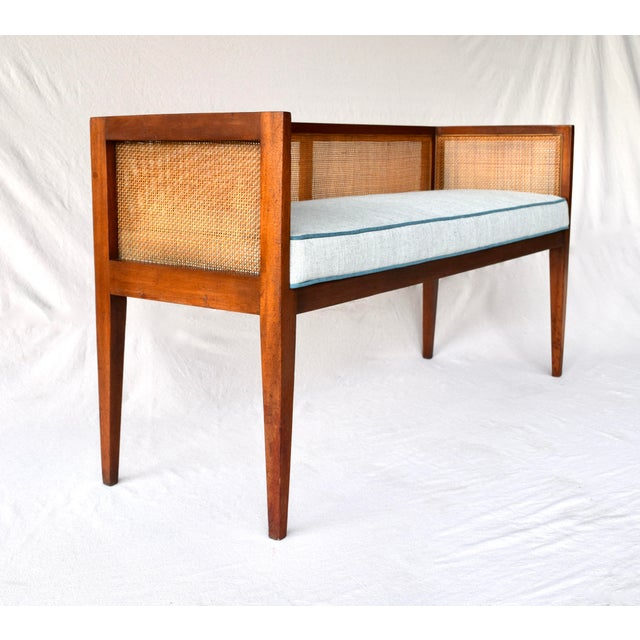 1950s 1950s Walnut Window Bench Attributed to Edward Wormley for Dunbar For Sale - Image 5 of 13
