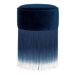 Blue Velvet Pouf With Fringe Moooi For Sale