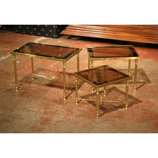 Gold Set of Early 20th Century, French Brass Nesting Tables Gigognes For Sale - Image 8 of 9