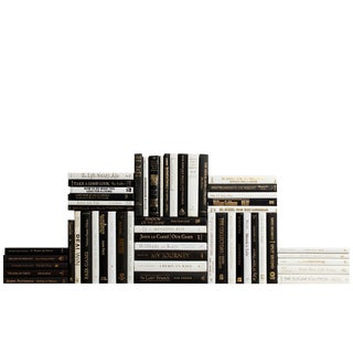 Modern Piano & Gold Accent Book Wall - Set of 50 For Sale