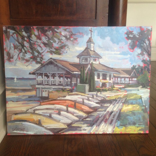 "Bright, Multicolored ""Lakeside Pavilion"" Original Oil Painting - Image 3 of 11"