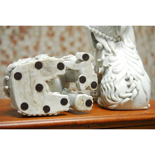 Pair of Chinese Dehua Blanc de Chine Foo Dogs For Sale - Image 10 of 10