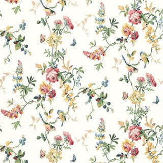 Schumacher Chickadee Floral Wallpaper in Primary For Sale
