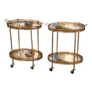 Pair of Mid-Century French Brass and Mirrored Two-Tier Service Bar Carts For Sale