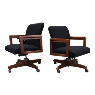 Pair of Swivel-Tilt Oak Desk Chairs by Boling For Sale