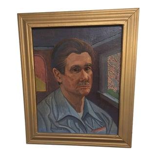Oil on Board of Modern Self Portrait For Sale