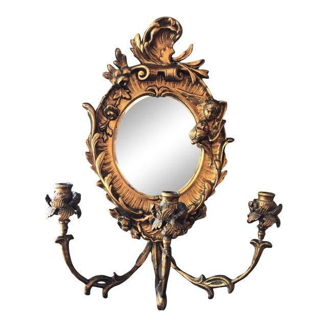 Turn of the Century Italian Baroque Style Girandole 3 Light Wall Mirror For Sale