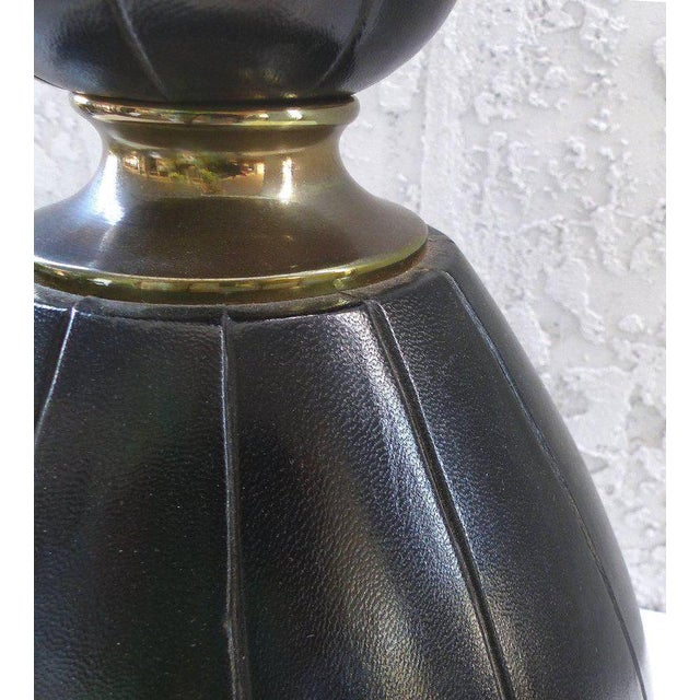 Animal Skin Elegant and Unusual 1940s Leather and Brass Table Lamp For Sale - Image 7 of 10