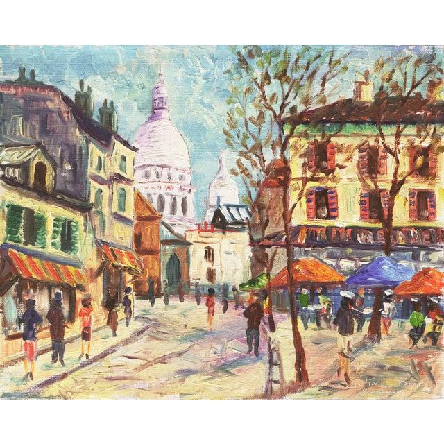 'Place Du Tertre, Montmartre, Paris' by Rammy, Mid-Century Post-Impressionist Oil For Sale - Image 9 of 9