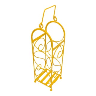 Vintage Yellow Wine Bottle Rack
