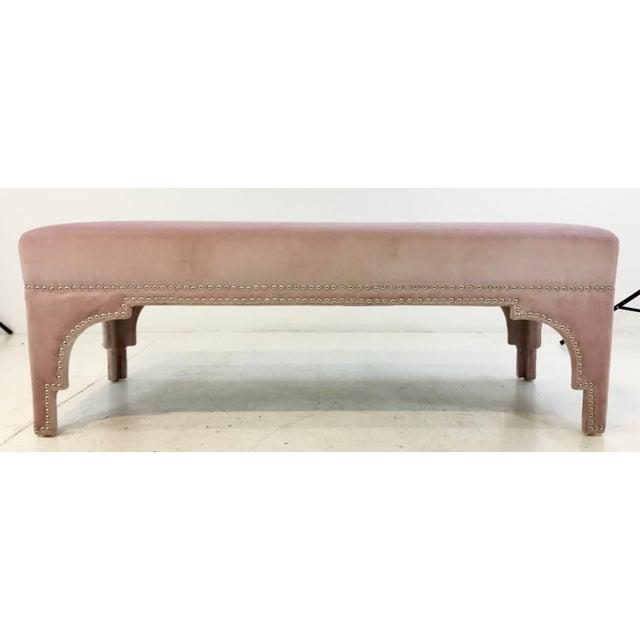 2010s Worlds Away Modern Blush Velvet Matilda Bench For Sale - Image 5 of 5