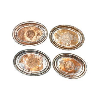 Antique 1800s Turkish Hand Made Hammered and Etched Copper Plates / Trays - Set of 4 For Sale