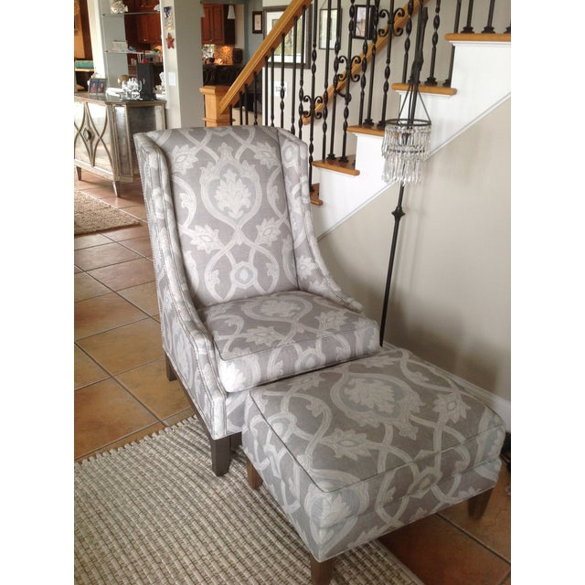 Lexington Barclay Butera Wing Back Chair & Ottoman For Sale - Image 10 of 10